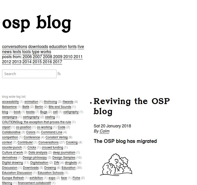 OSP (Open Source Publishing) → you're traveling towards osp-blog